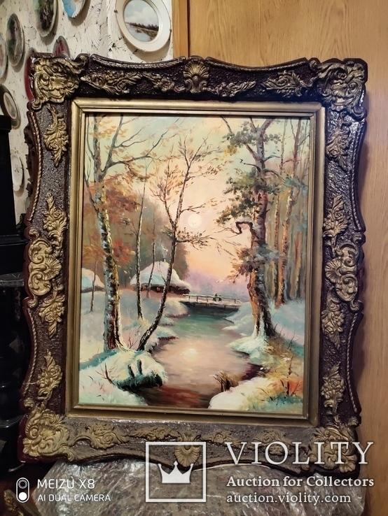 Большая старая картина в раме Зимний пейзаж, фото №9