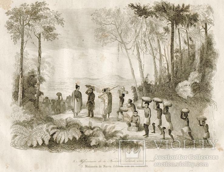 Старинная гравюра. Миссионер со свитой в Новой Зелландии