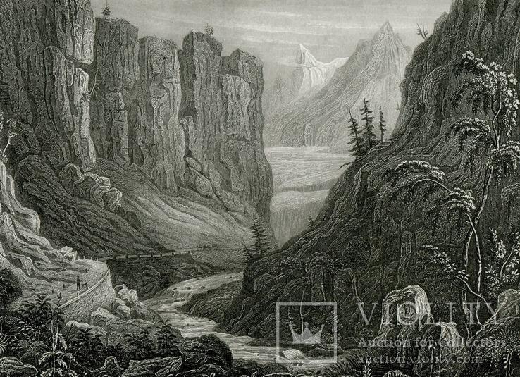 Старинная гравюра. 1850. Швейцария, Шплюген. Дорога в горах. 24х16см