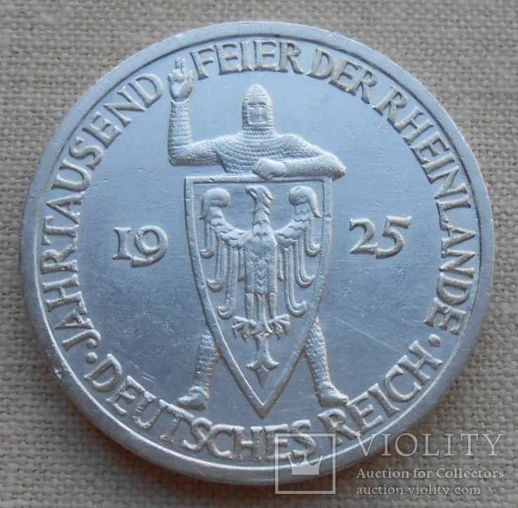 1925 г. Германия Рейнланд 3 марки Серебро
