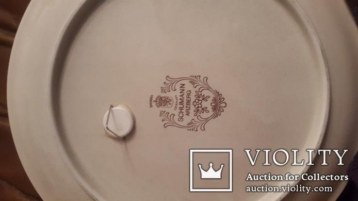Старинная настенная тарелка с ручной раскрасской, фото №4