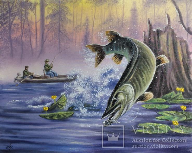 Картина Удачная рыбалка, 50х40 см. Живопись на холсте, фото №2