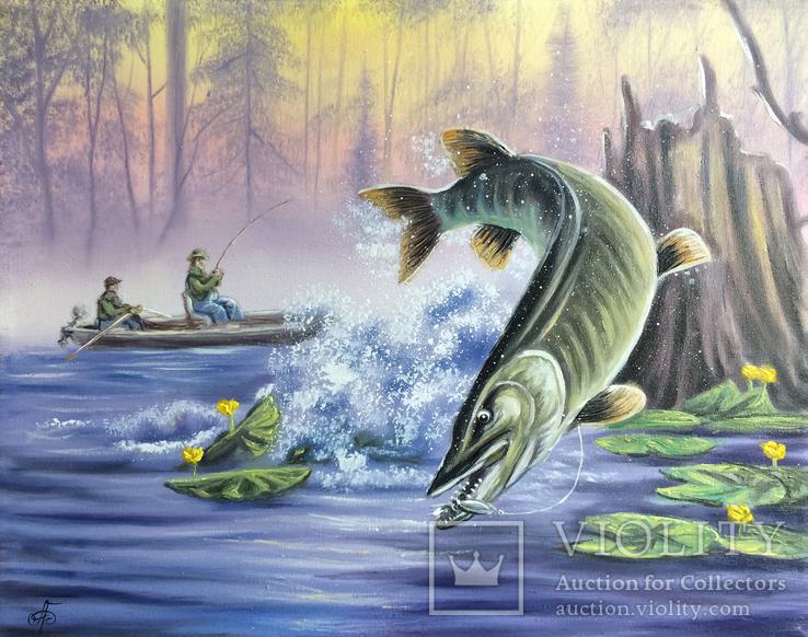Картина Удачная рыбалка, 50х40 см. Живопись на холсте, фото №3