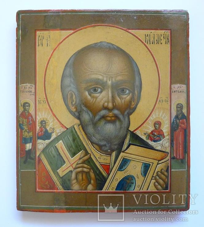 Икона Св. Николай Чудотворец ( Отвратный) Св. Георгий Победоносец, Св. Анатолий.