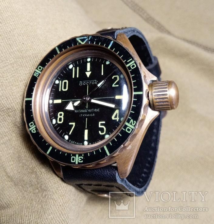 Часы Восток Амфибия.латунь. антимагнитные.кастом.