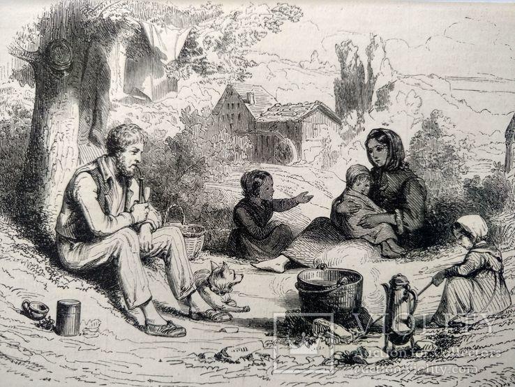 Семья Хейматлоз (3). Приготовление еды. Гравюра (16х11,5), фото №2