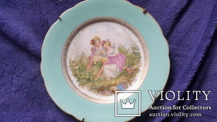 Настенная  фарфоровая тарелка М.С. Кузнецова в Дулеве деколь с дорисовкой, фото №2