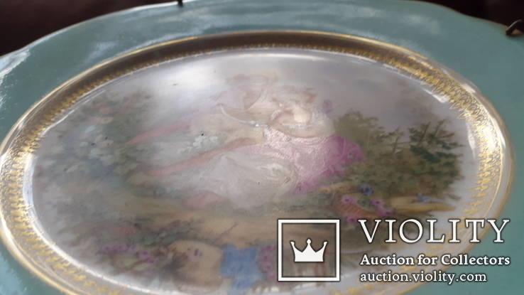 Настенная  фарфоровая тарелка М.С. Кузнецова в Дулеве деколь с дорисовкой, фото №4
