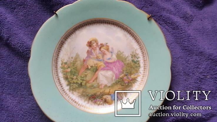 Настенная  фарфоровая тарелка М.С. Кузнецова в Дулеве деколь с дорисовкой, фото №6