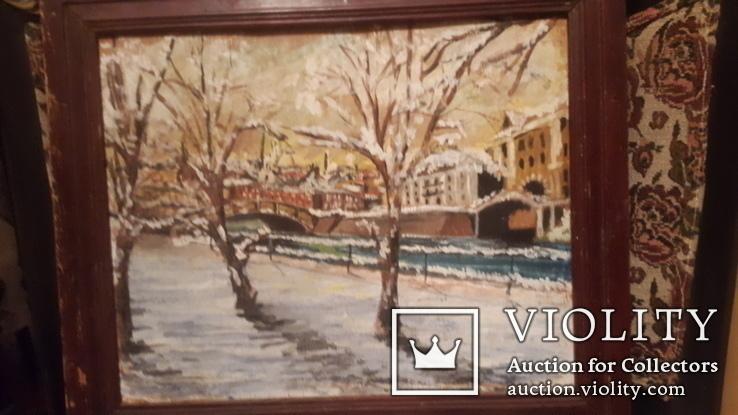 Старинная картина пейзаж,доска,масло, фото №5