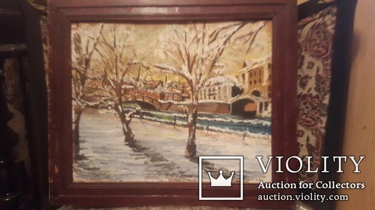 Старинная картина пейзаж,доска,масло, фото №6
