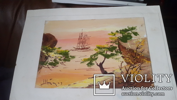 Картина на морскую японскую тему с подписью автора Н.Белоусов, фото №2