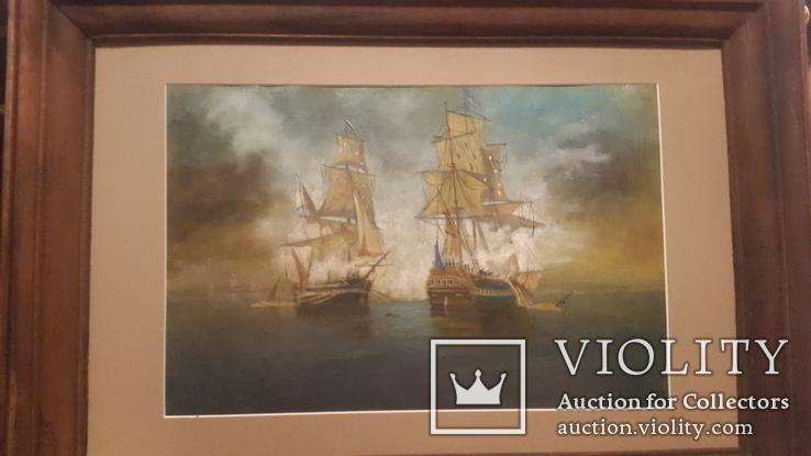 Старая картина в раме Морской бой с подписью автора, фото №3