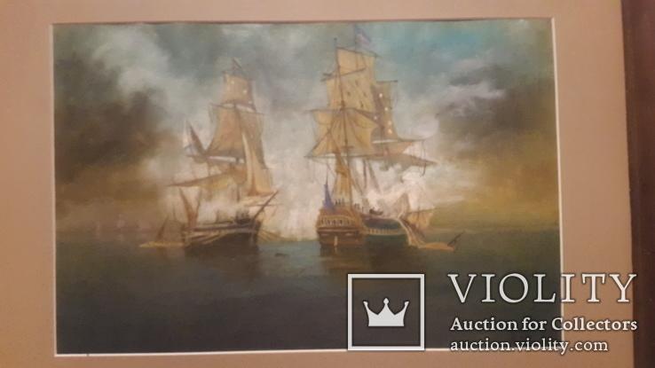 Старая картина в раме Морской бой с подписью автора, фото №4