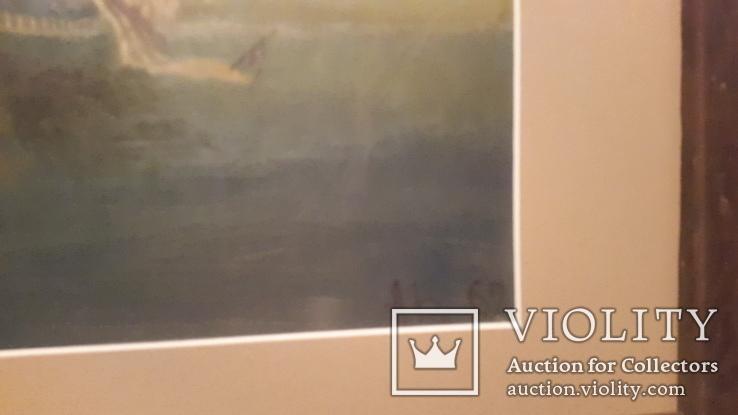 Старая картина в раме Морской бой с подписью автора, фото №5