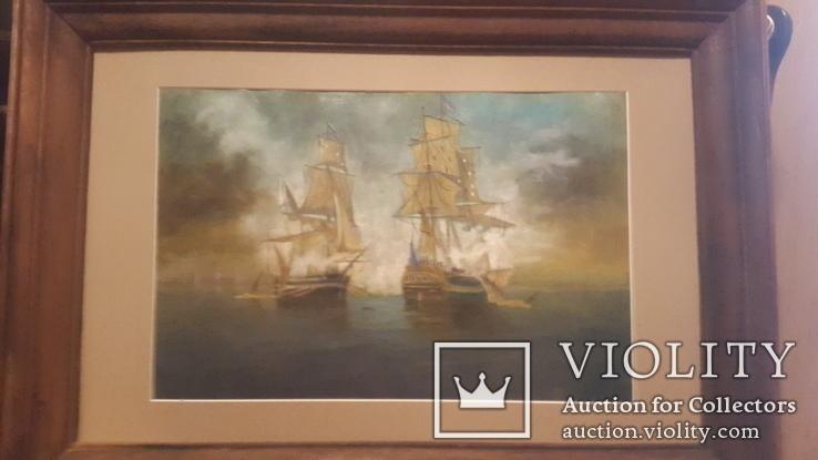 Старая картина в раме Морской бой с подписью автора, фото №6