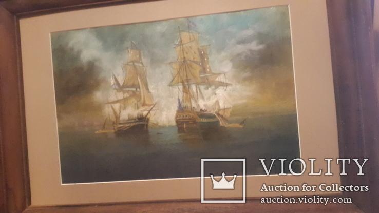 Старая картина в раме Морской бой с подписью автора, фото №7