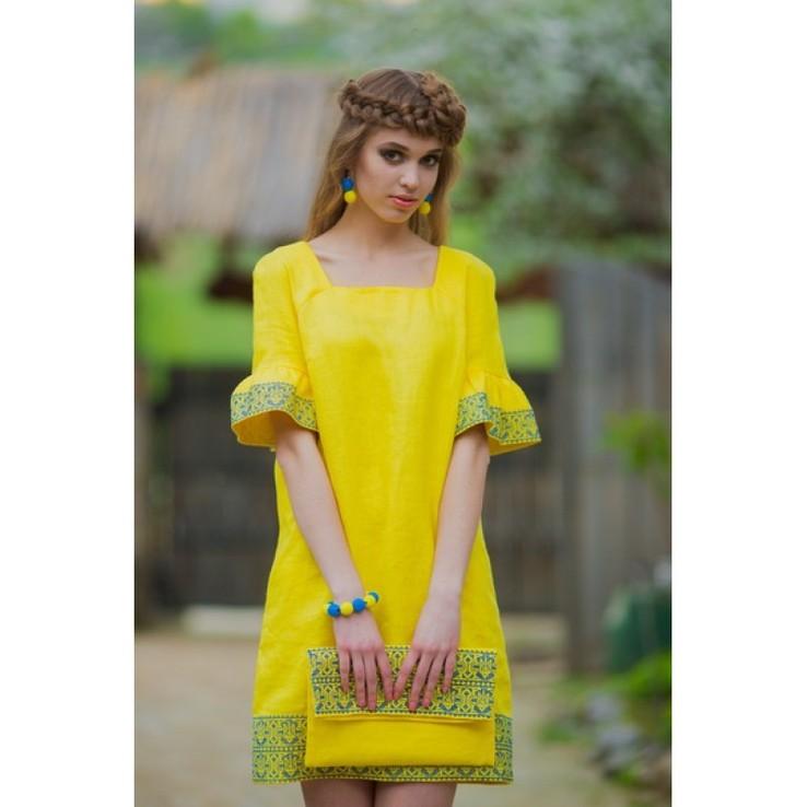 Вишита жовта сукня в національному стилі