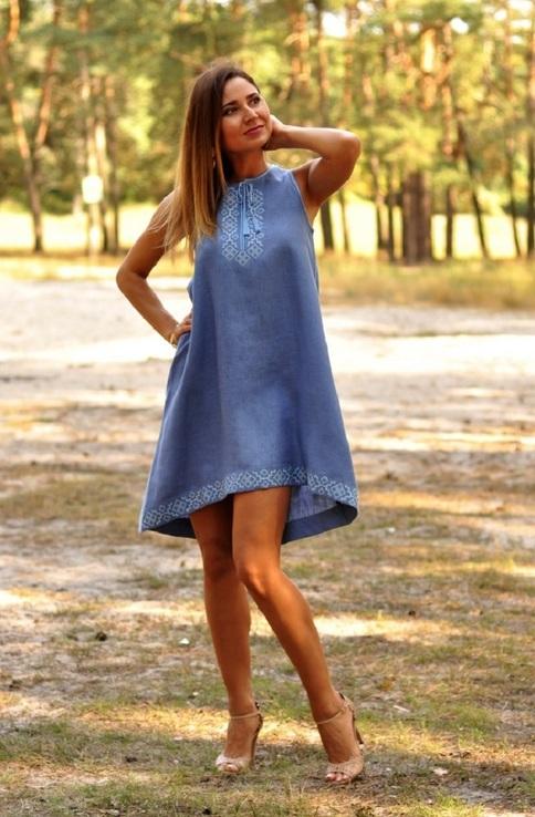 Розкльошена сукня вишиванка з американською проймою