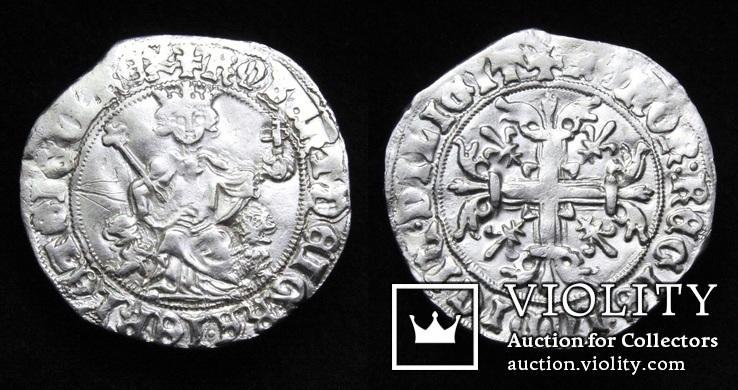 Король Неаполю Роберт І «Мудрий» (1309-1343рр.), срібний джильято 1309-1317рр., м.Неаполь