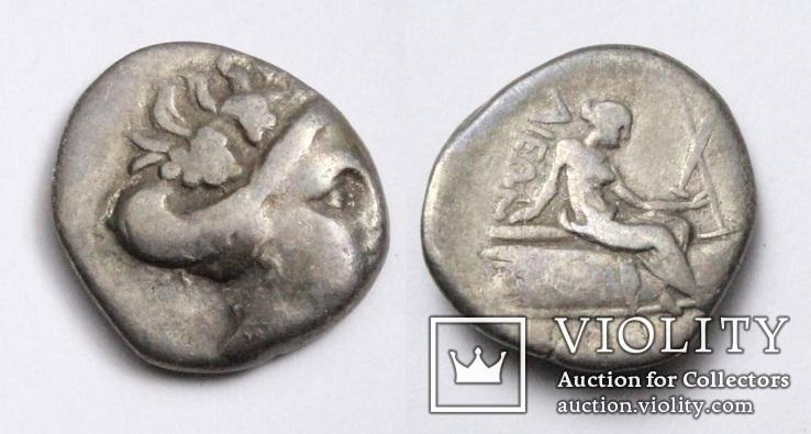 Острів Евбея, м.Гістіея (Ореос), срібний тетробол, ІІІ-ІІ ст. до н.е.