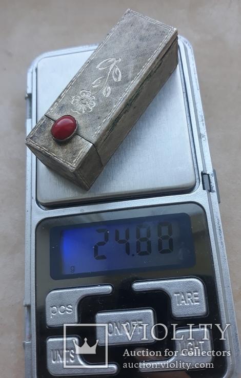 Серебряная помадница с кораллом, фото №5