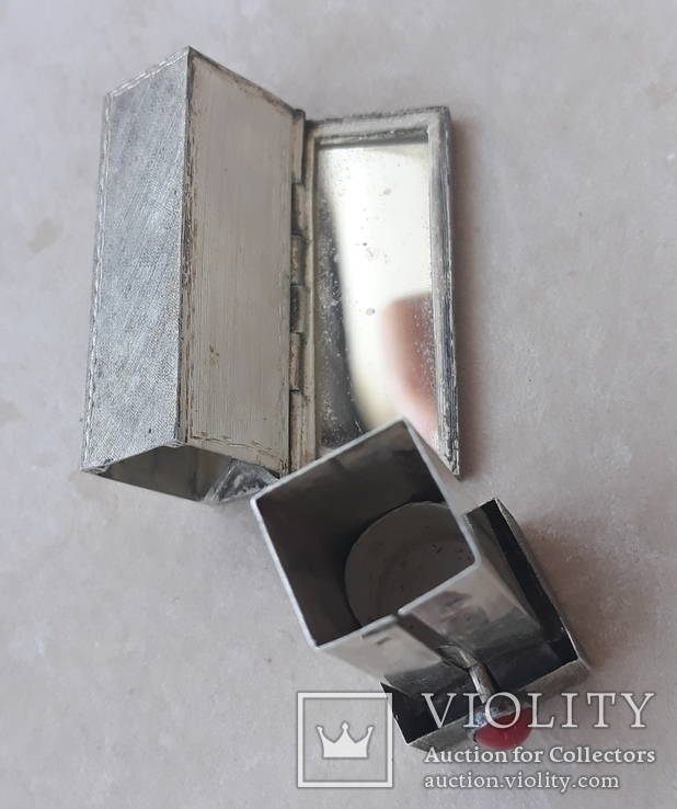 Серебряная помадница с кораллом, фото №8
