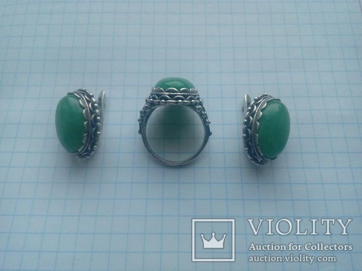 Гарнітур срібний старовинний. Сережки і перстень р. 20. Камінь натуральний., фото №3