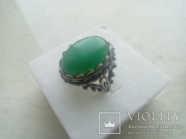 Гарнітур срібний старовинний. Сережки і перстень р. 20. Камінь натуральний., фото №6