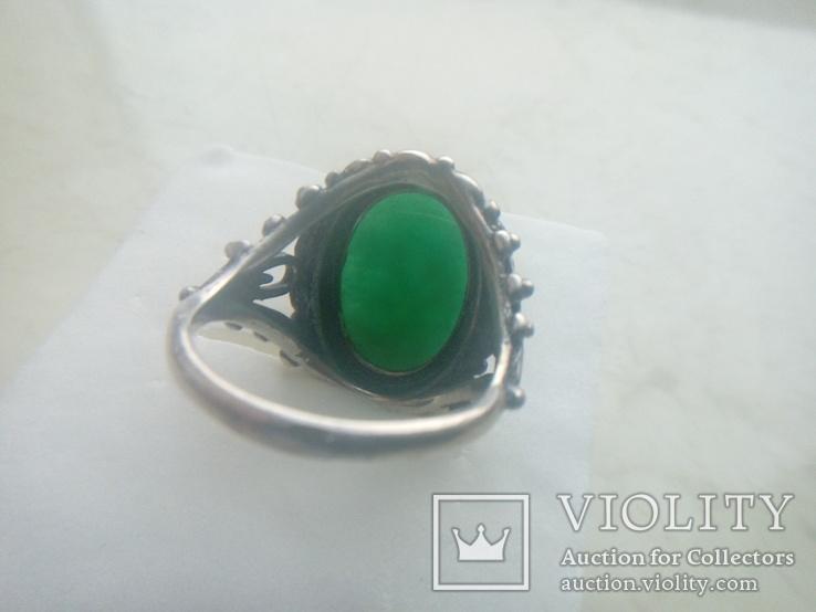 Гарнітур срібний старовинний. Сережки і перстень р. 20. Камінь натуральний., фото №7