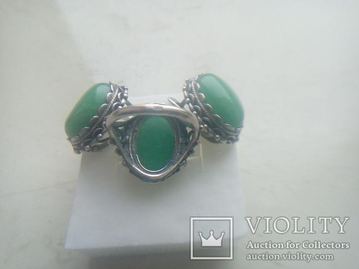 Гарнітур срібний старовинний. Сережки і перстень р. 20. Камінь натуральний., фото №8