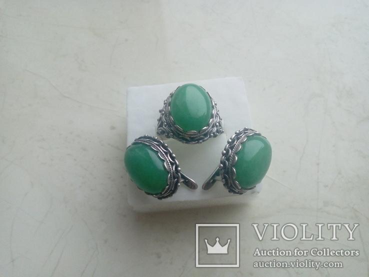 Гарнітур срібний старовинний. Сережки і перстень р. 20. Камінь натуральний., фото №10