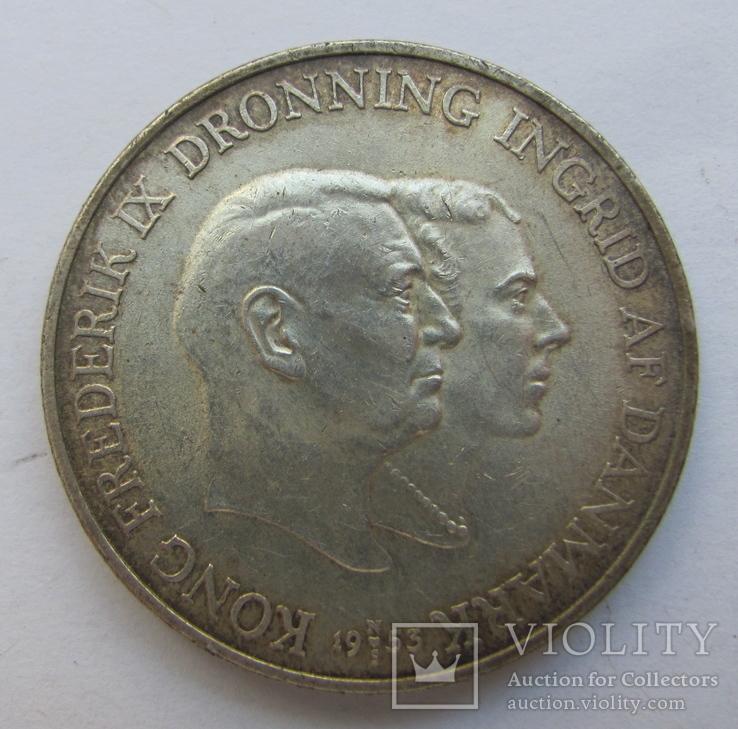 2 кроны 1953 г. Дания /Визит в Гренландию/, фото №2