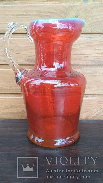 Большой кувшин, уранове стекло., фото №11