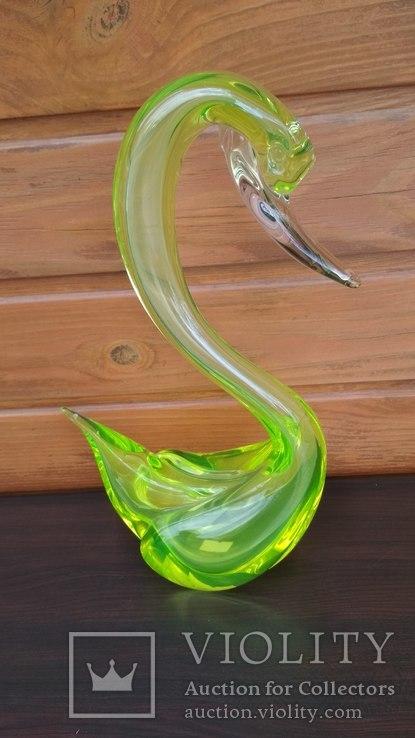 Большая фигура, лебедь, уранове стекло, фото №7