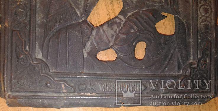 Рельефный латунный оклад на Тихвинскyю иконy Божией Матери 23х19см., фото №7