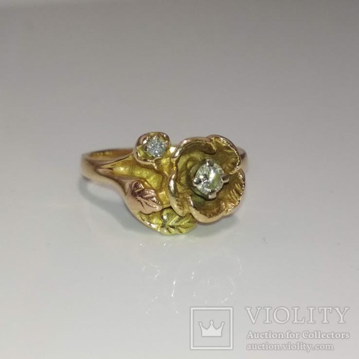 Винтажное миниатюрное золотое колечко (15-й размер) с цветком
