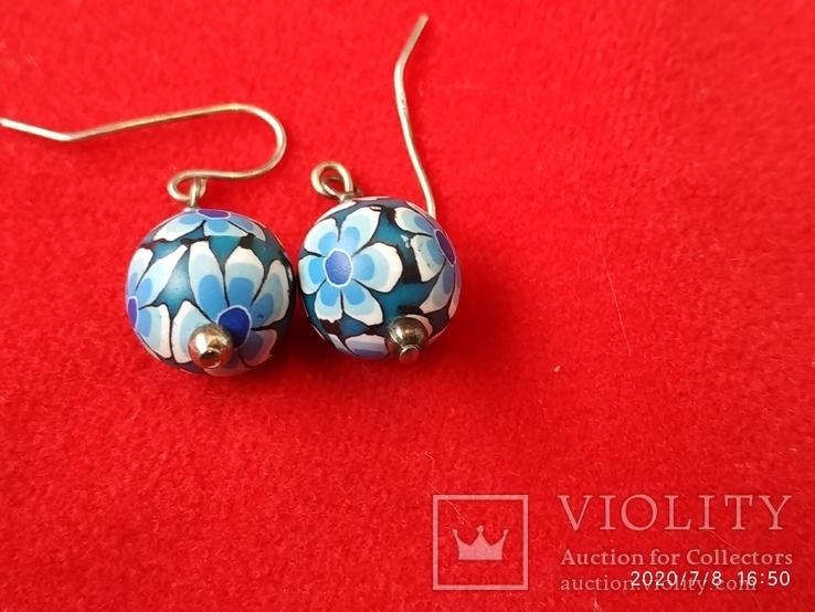 Серьги цветы серебро, резина, фото №3