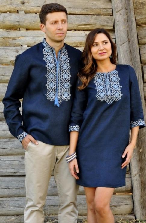 Лаконічний комплект - сорочка з довгим рукавом і жіноче плаття-міні з виразною вишивкою, фото №2