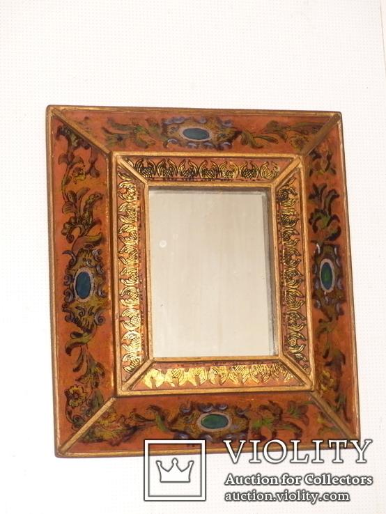 Зеркало - Перу - рамка дерево   роспись по стеклу . золочение- ручная работа - 32 х 28 см, фото №2