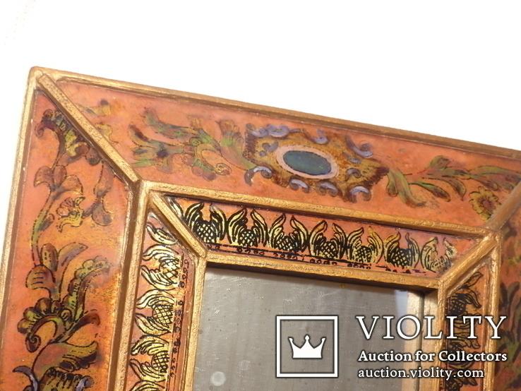 Зеркало - Перу - рамка дерево   роспись по стеклу . золочение- ручная работа - 32 х 28 см, фото №7