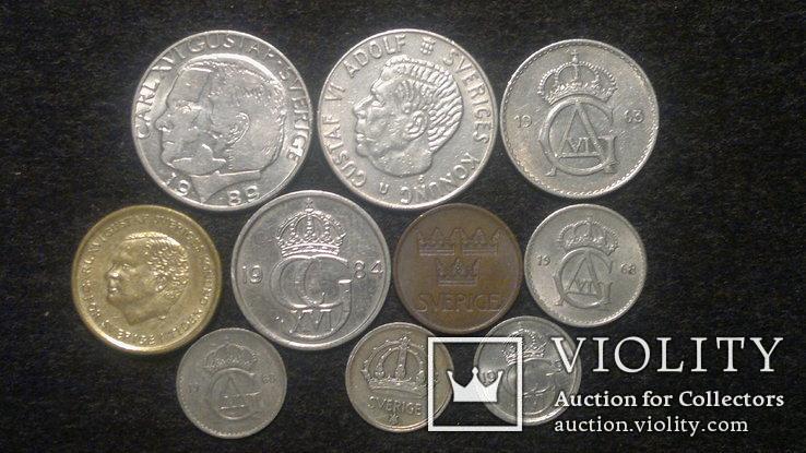 Швеция монеты 10 шт, фото №2