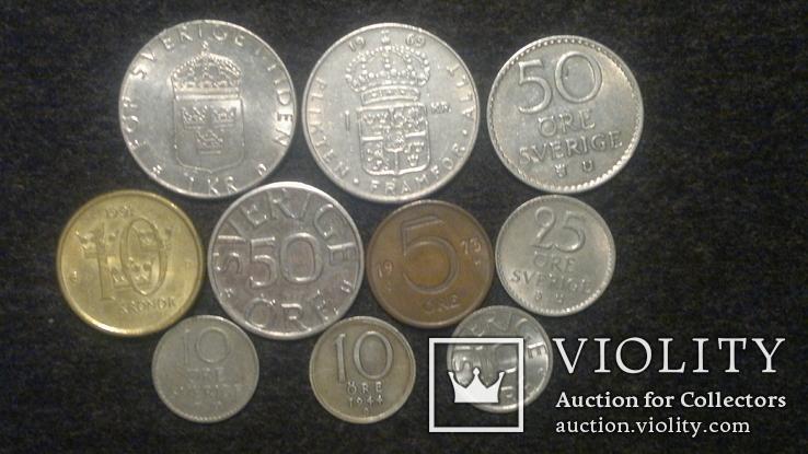Швеция монеты 10 шт, фото №3