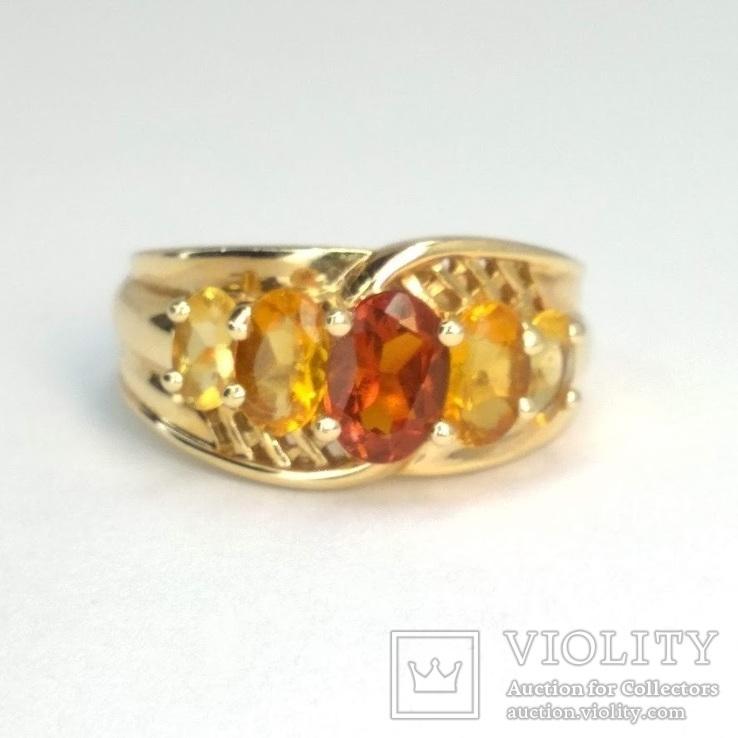 Винтажное золотое кольцо с цитринами, фото №2
