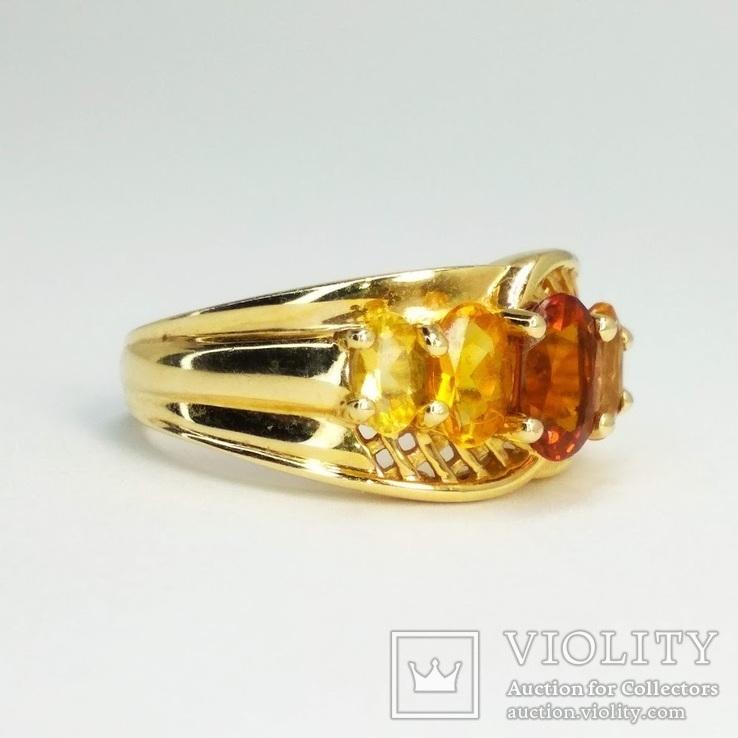 Винтажное золотое кольцо с цитринами, фото №4