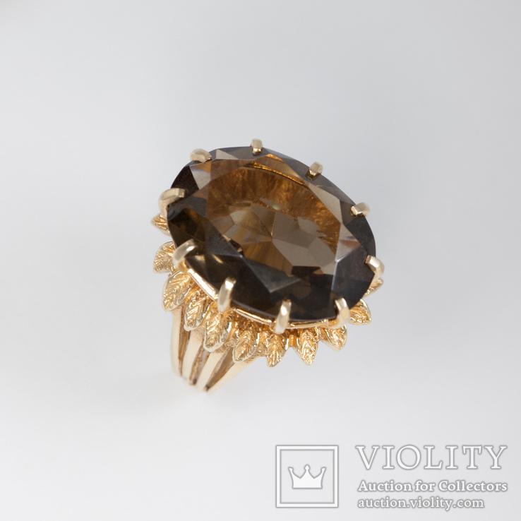 Золотое кольцо с натуральным дымчатым кварцем, фото №3