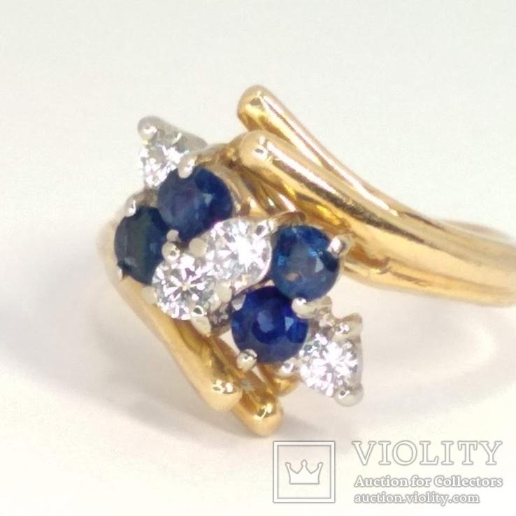 Винтажное золотое кольцо с натуральными сапфирами и бриллиантами, фото №3
