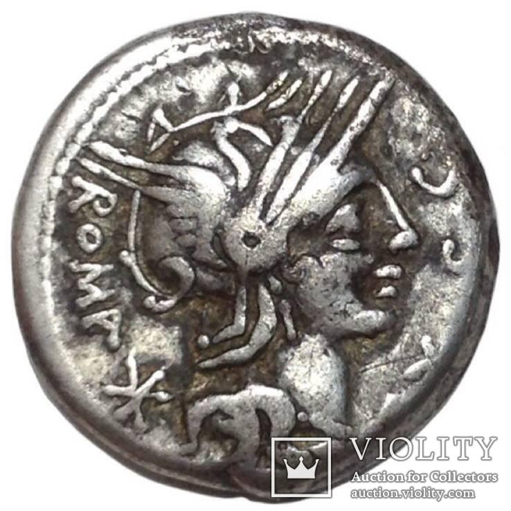 Римская республика - М. Сергий Silus - AR денарий . 116-115 до н.э всадник с головой, фото №2
