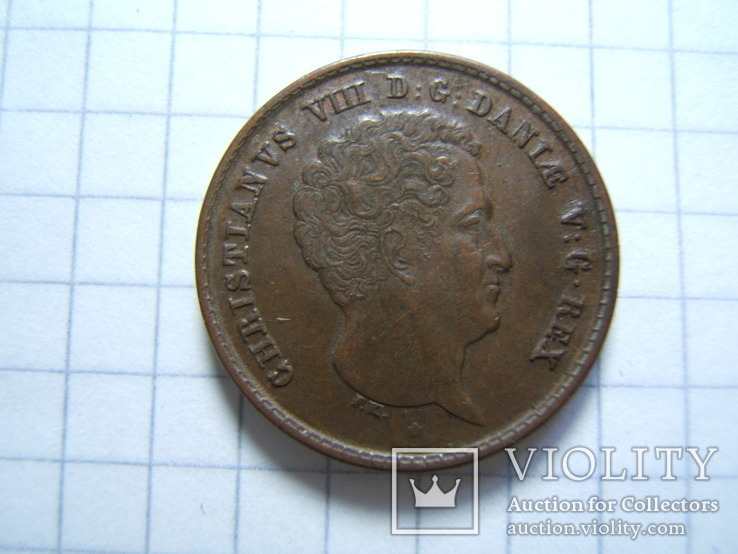 Дания 1 ригсбанкскиллинг 1842 г. VS KM#726, фото №7