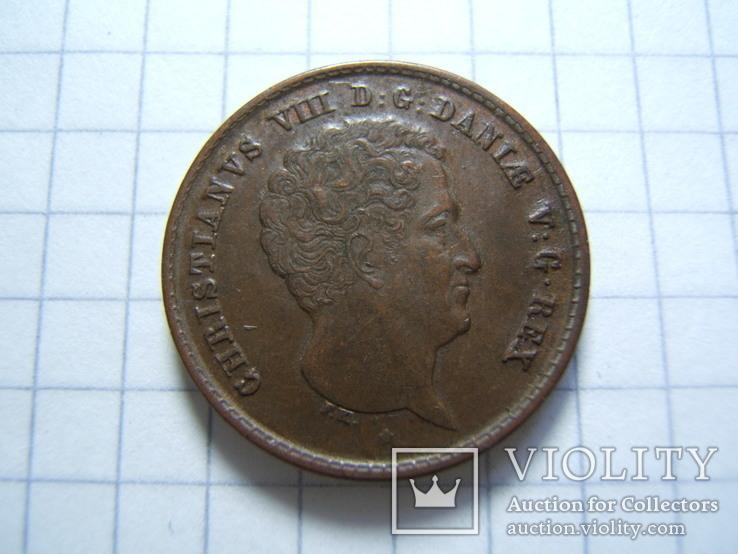 Дания 1 ригсбанкскиллинг 1842 г. VS KM#726, фото №9
